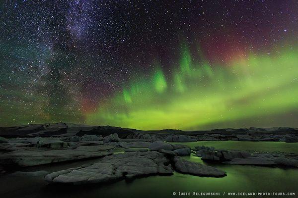Milky Way and Aurora over Jokulsarlon Glacier Lagoon ...