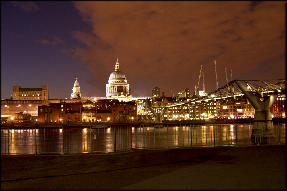 Millenium Bridge, St Paul's Cathedral by night