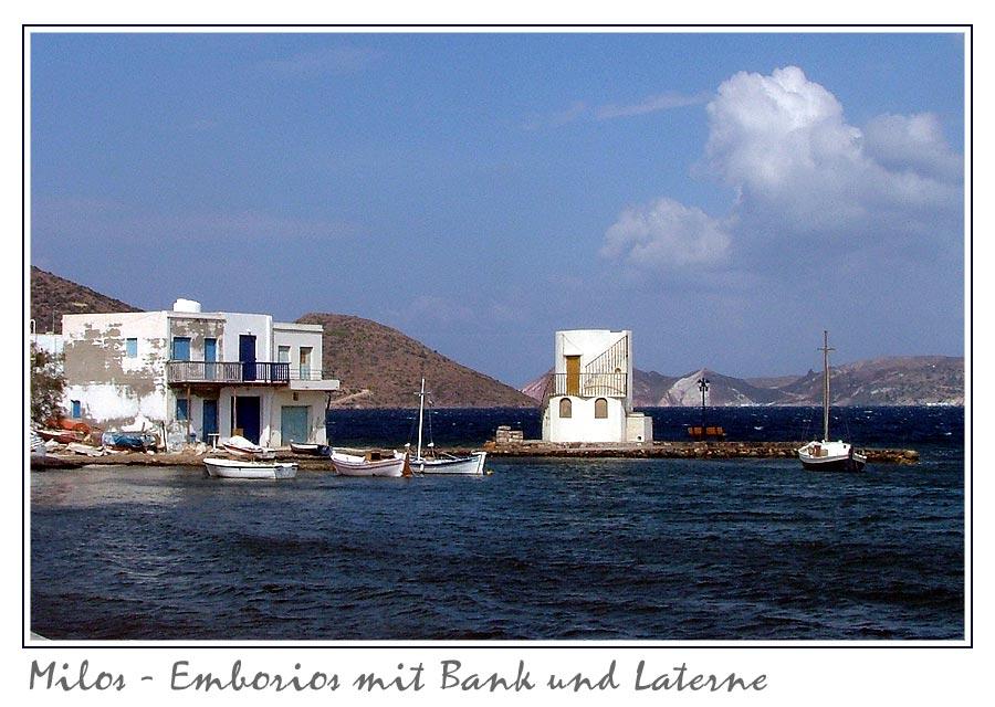 Milos - Emborios mit Bank und Laterne