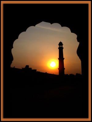 Minar & sunset