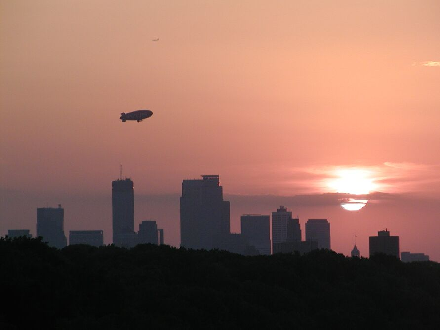 Minneapolis dirigible sunset