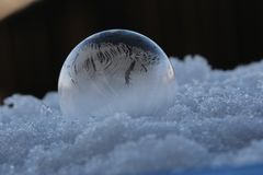 Minus 6 grad Celsius frozen Seifenblasen( soap bubble )