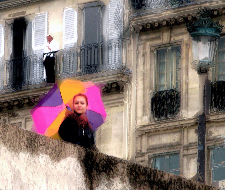 Mirando al Sena en un dia lluvioso de primavera en París.