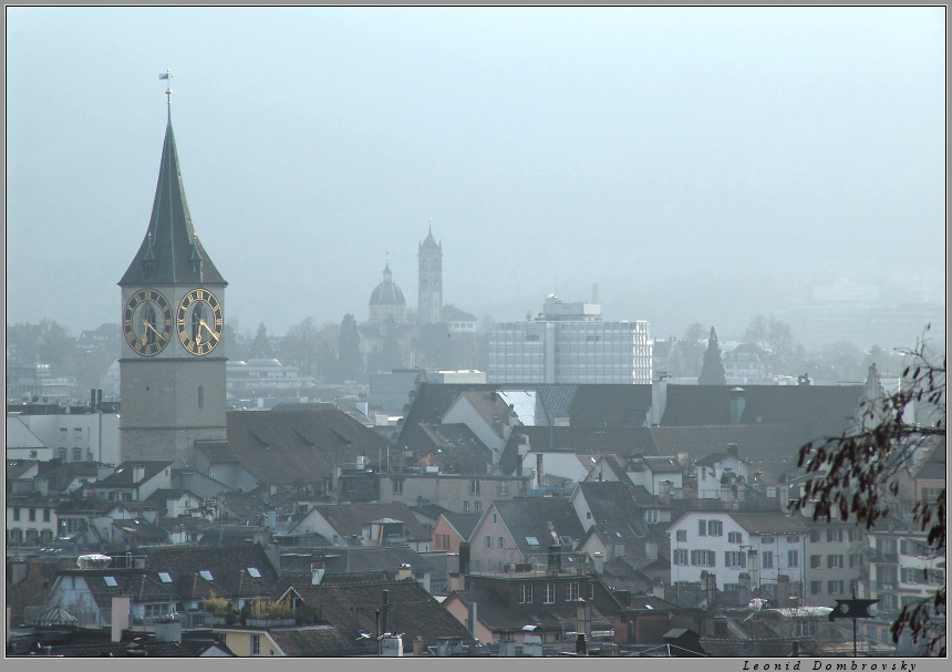 Misty view of Zurich