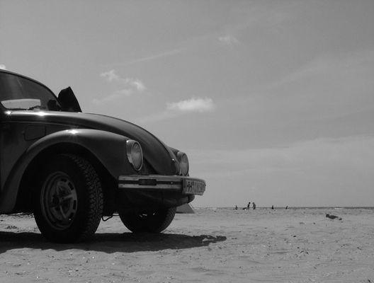 mit dem auto zum strand