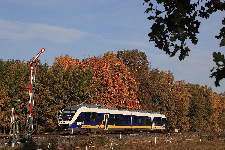 Mit dem erixx-Triebwagen von Buchholz über die herbstliche Heidebahn nach Hannover.