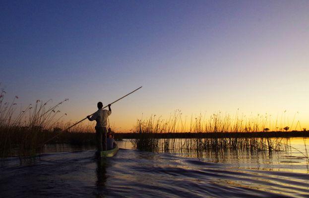 mit dem Mokoro im Okawango Delta