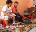 Mit der Mutter auf dem Markt Pilze verkaufen - das ist nicht grad der Hit