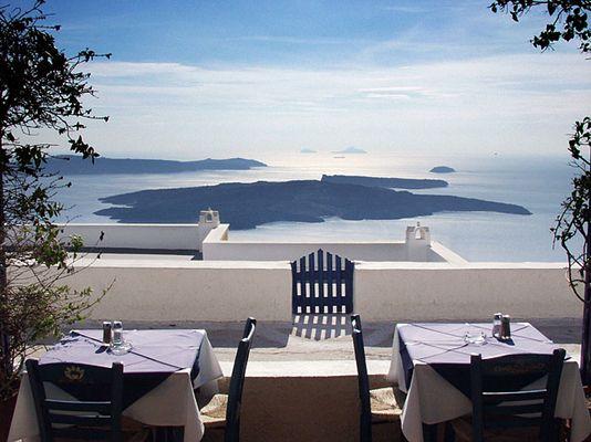 Mittagessen in Santorini