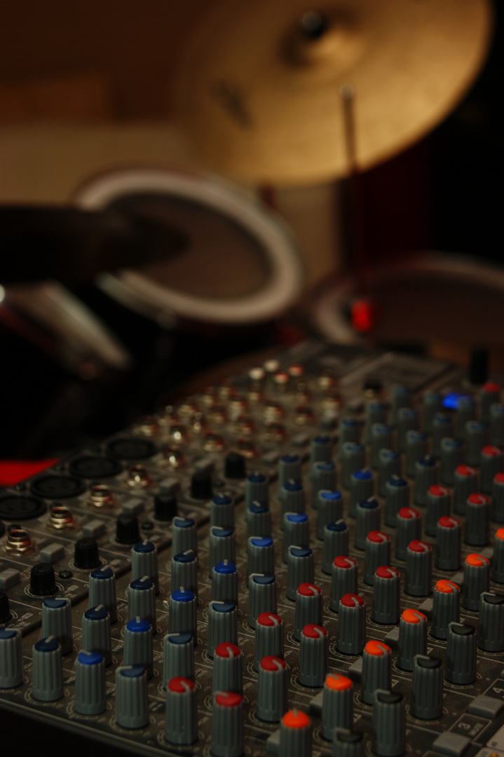 mixer and drums