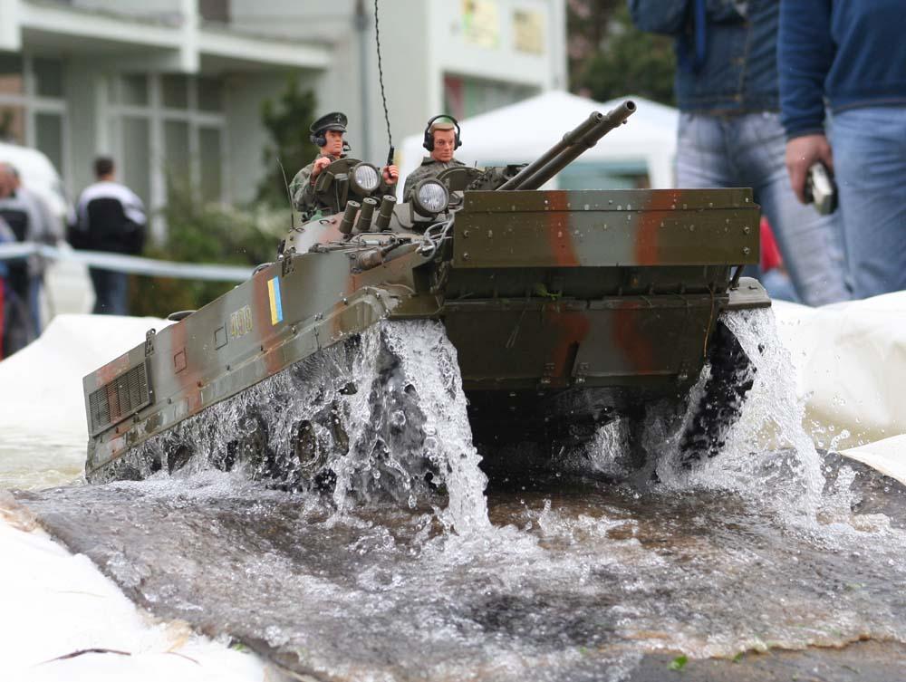 Model tank leaving pool