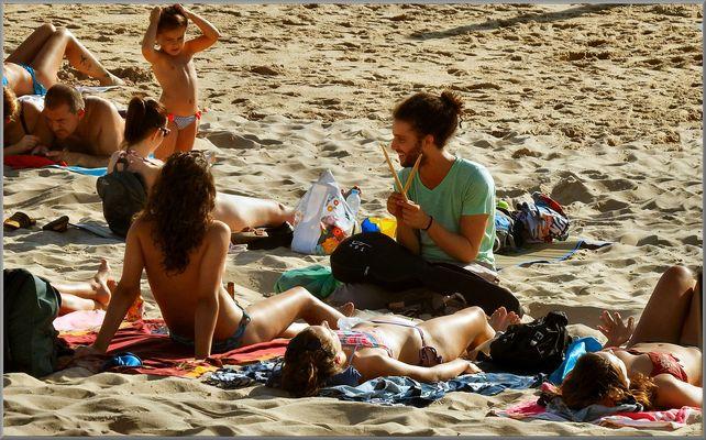 Modern people at beach
