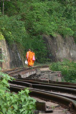 Mönch auf den Gleisen