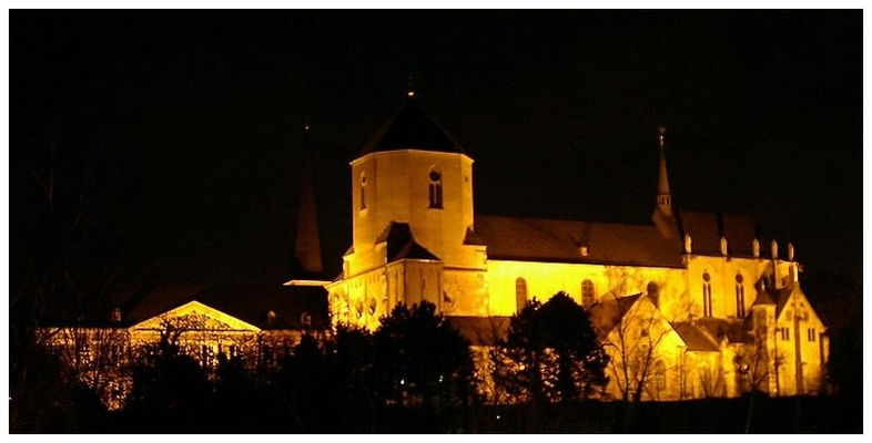 Mönchengladbacher Münster bei Nacht