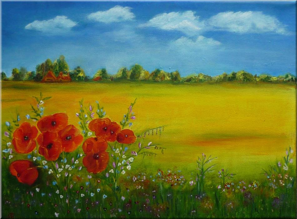 ölmalerei  Mohn und andere Blumen (Ölmalerei) Foto & Bild | pflanzen, pilze ...