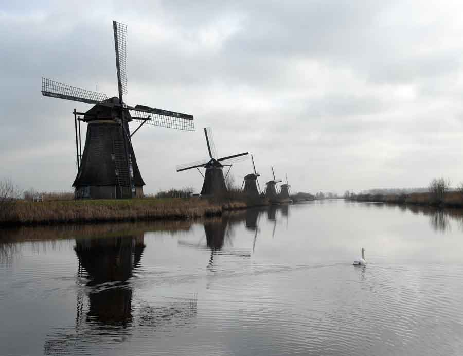 Molens van Kinderdijk in Nederland