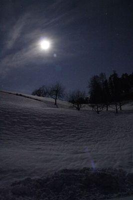 Monbeleuchteter Schnee