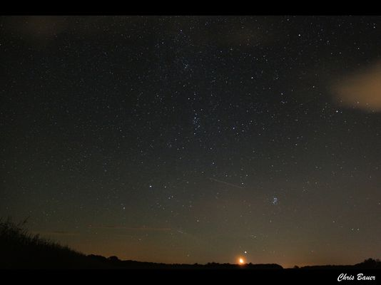 Mond, Sterne und Sternschnuppe