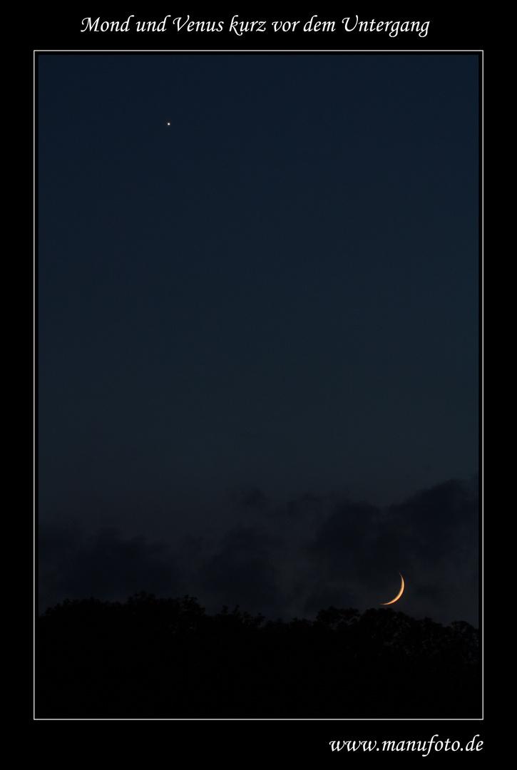 Mond und Venus kurz vor dem Untergang
