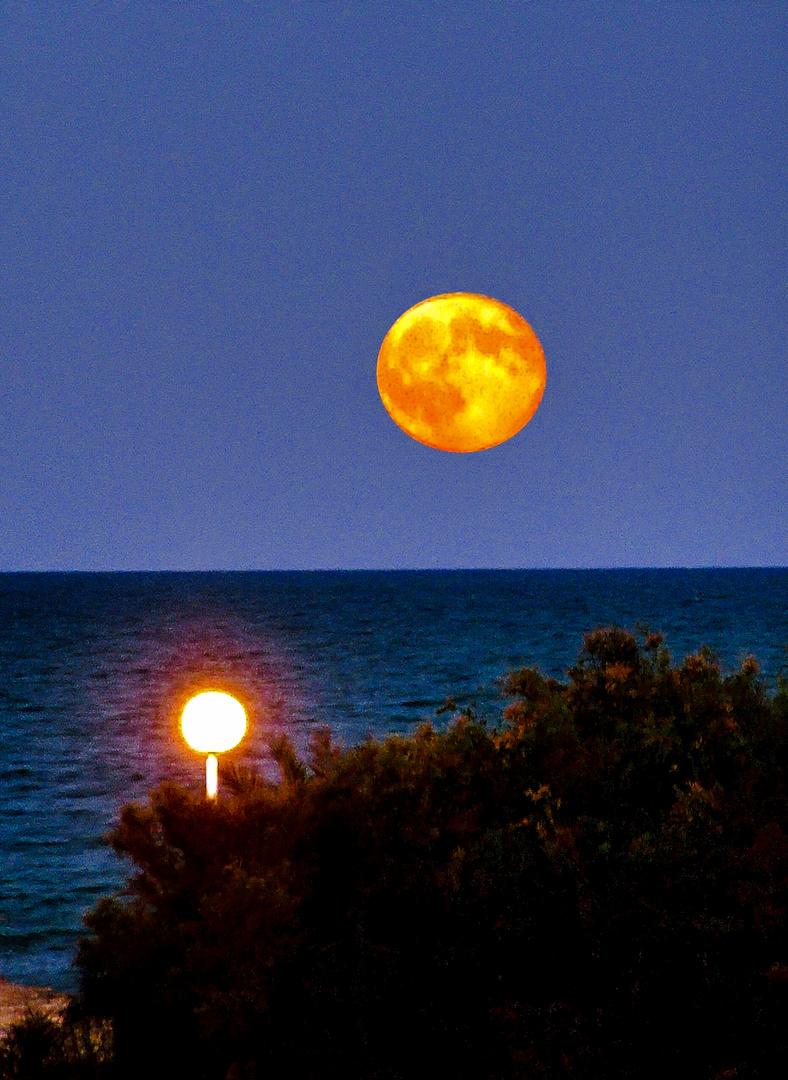 Mondaufgang über dem Meer