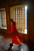 : Monk inside Angkor Wat :