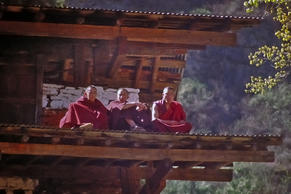 Monks as the audience on the roof top