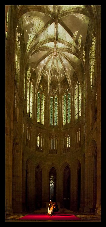 Mont-Saint-Michel mit Harfenspieler