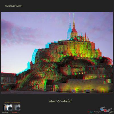 Mont-St-Michel Stereofoto / Anaglyphe