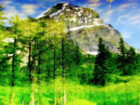 Monte Leone rilesso nel lago delle streghe Alpe Veglia (Italy)