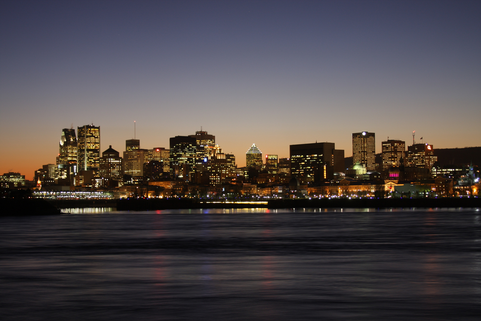 Montreal's skyline by night