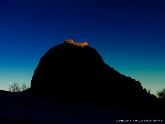Montsegur medieval castle at the sunset