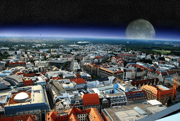 Moon comes over Leipzig