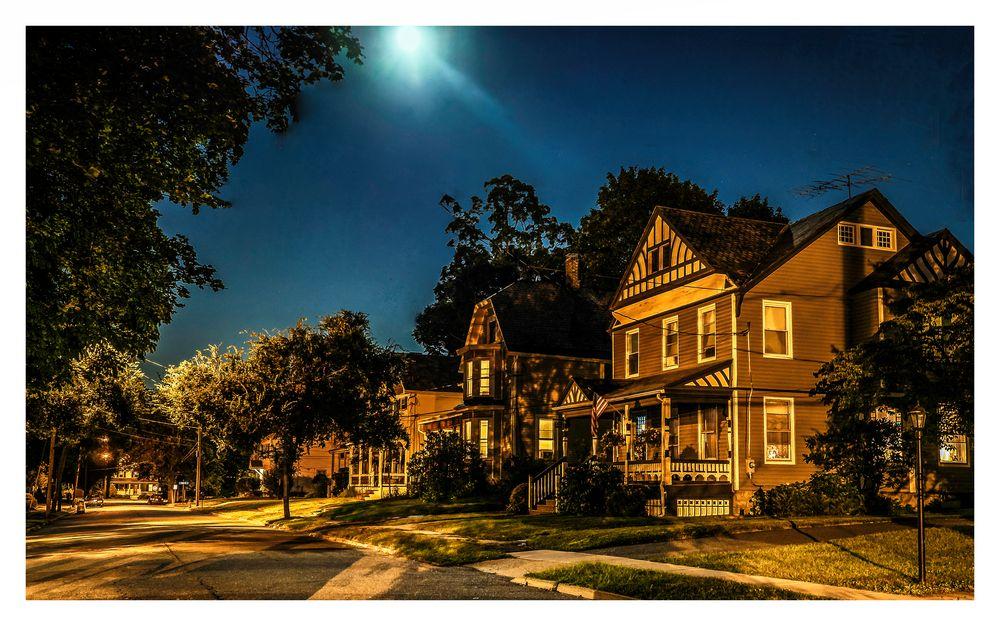 Moon-lit Small-Town Street