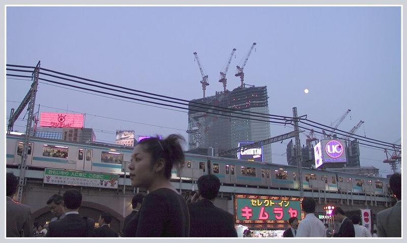 Moon over Hibiya Station, Tokyo