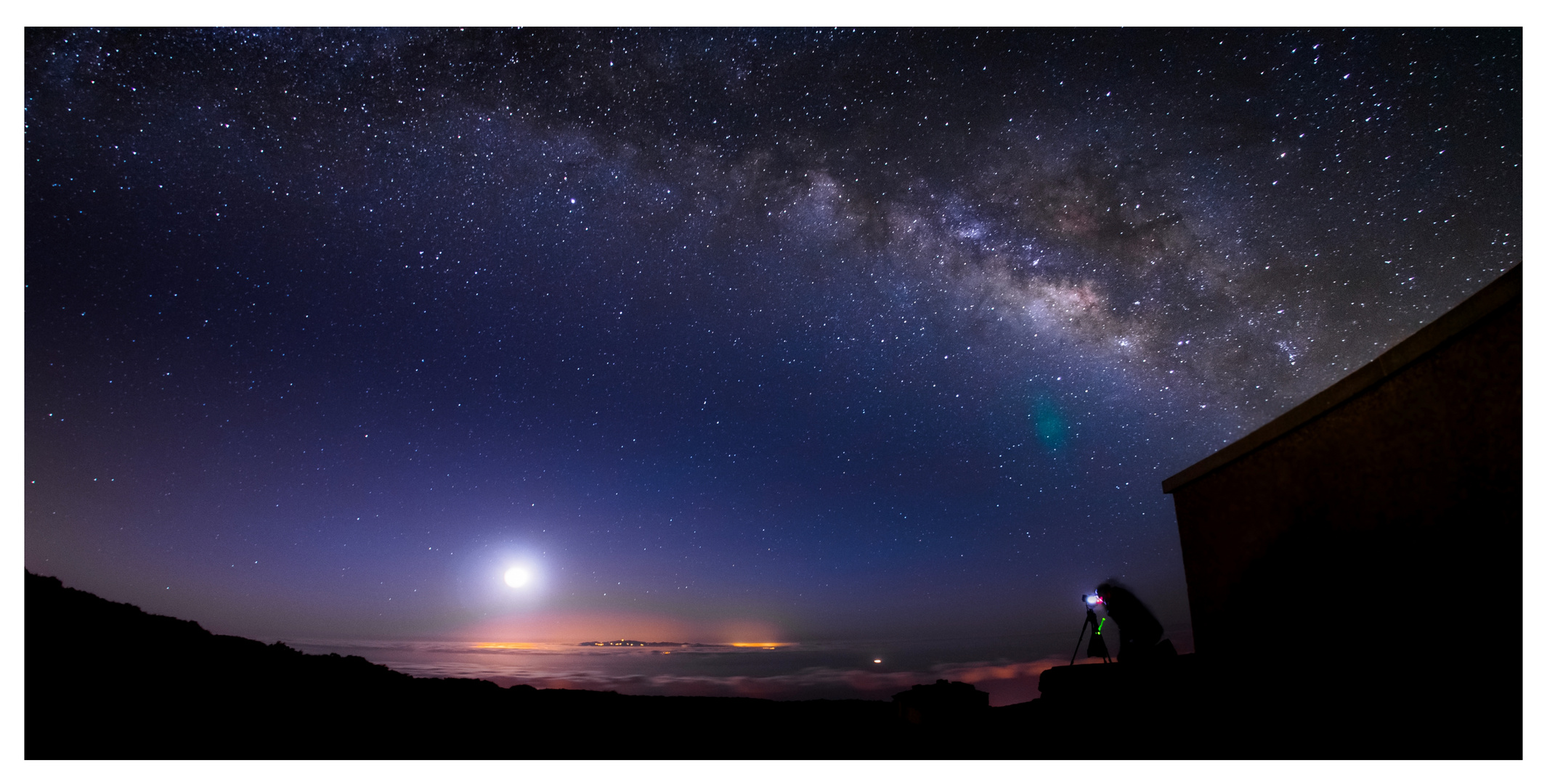 Moonrise under the Milky Way