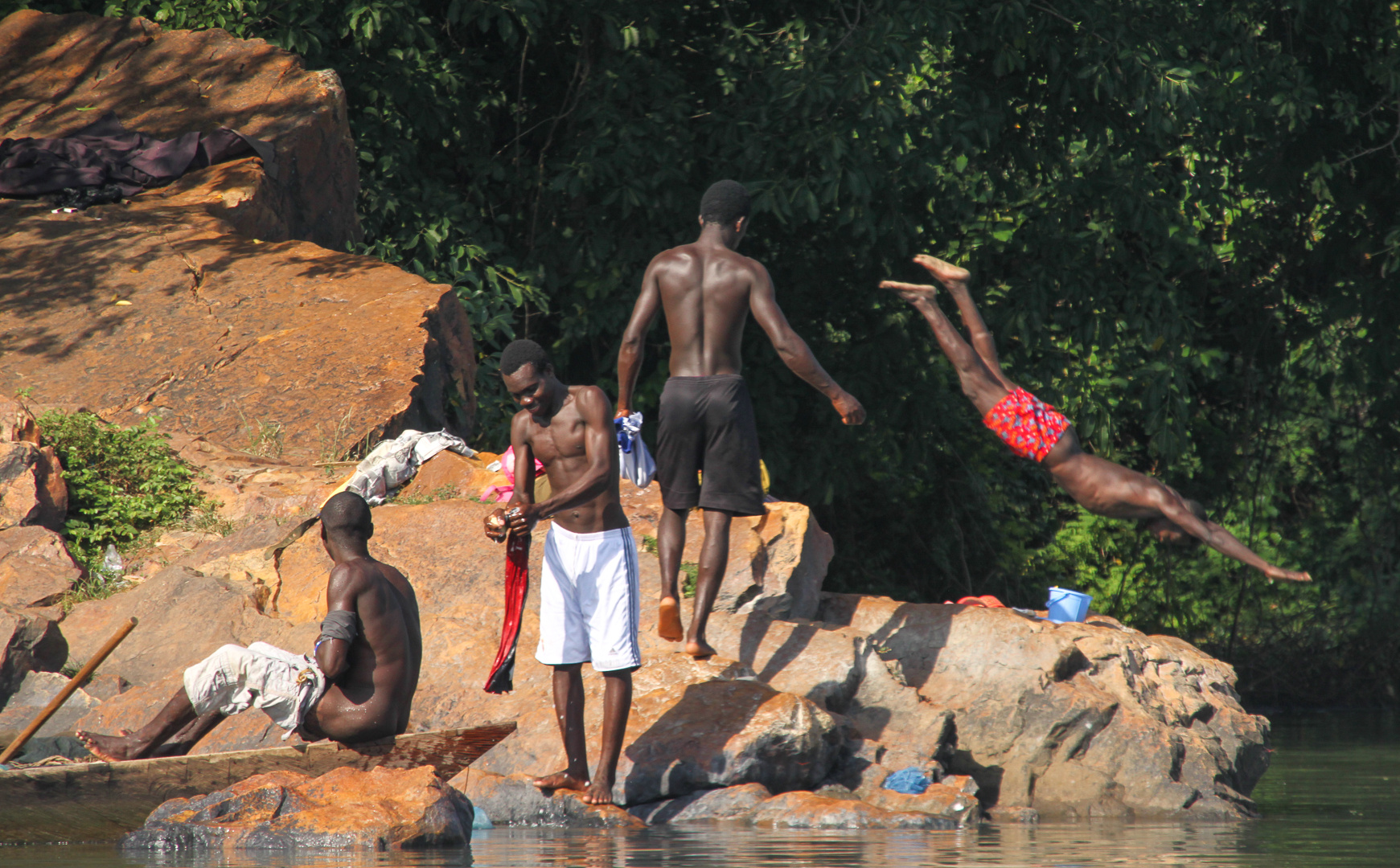 Morgenbad am Voltafluss