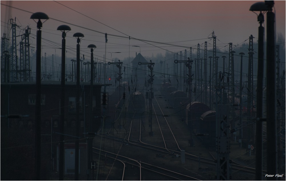 Morgendämmerung am Rangierbahnhof Elstal