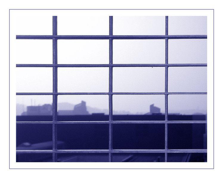 Morgennebel hinter Gitter