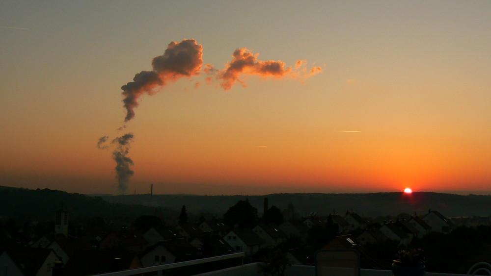 Morgenröte AKW-Neckarwestheim
