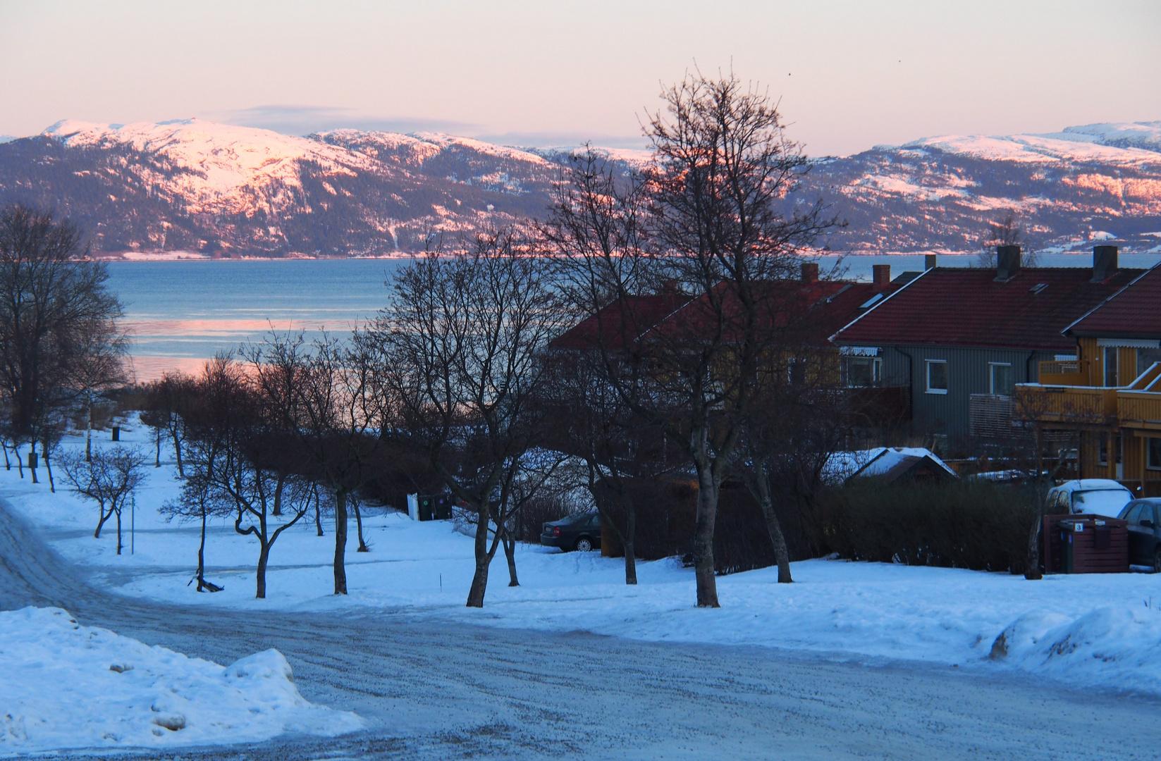 Morgensonne am Trondheimsfjord