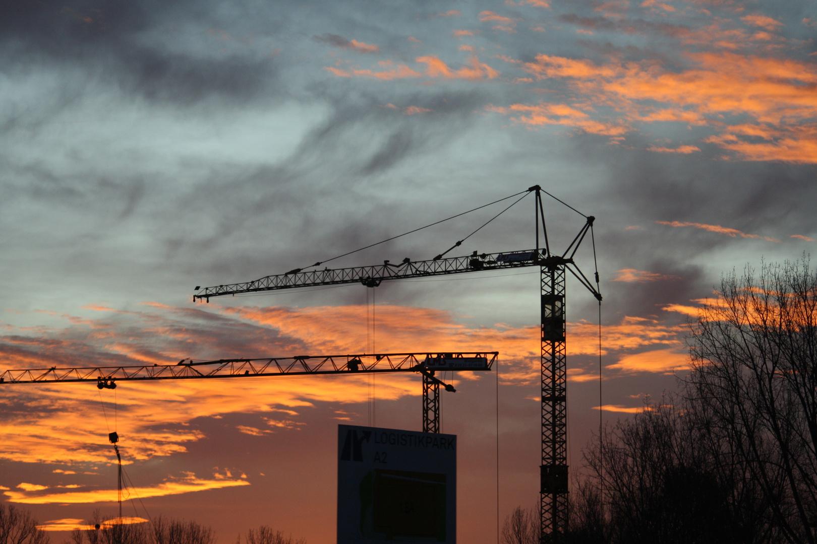 Morgenstimmung bei Bauarbeiten
