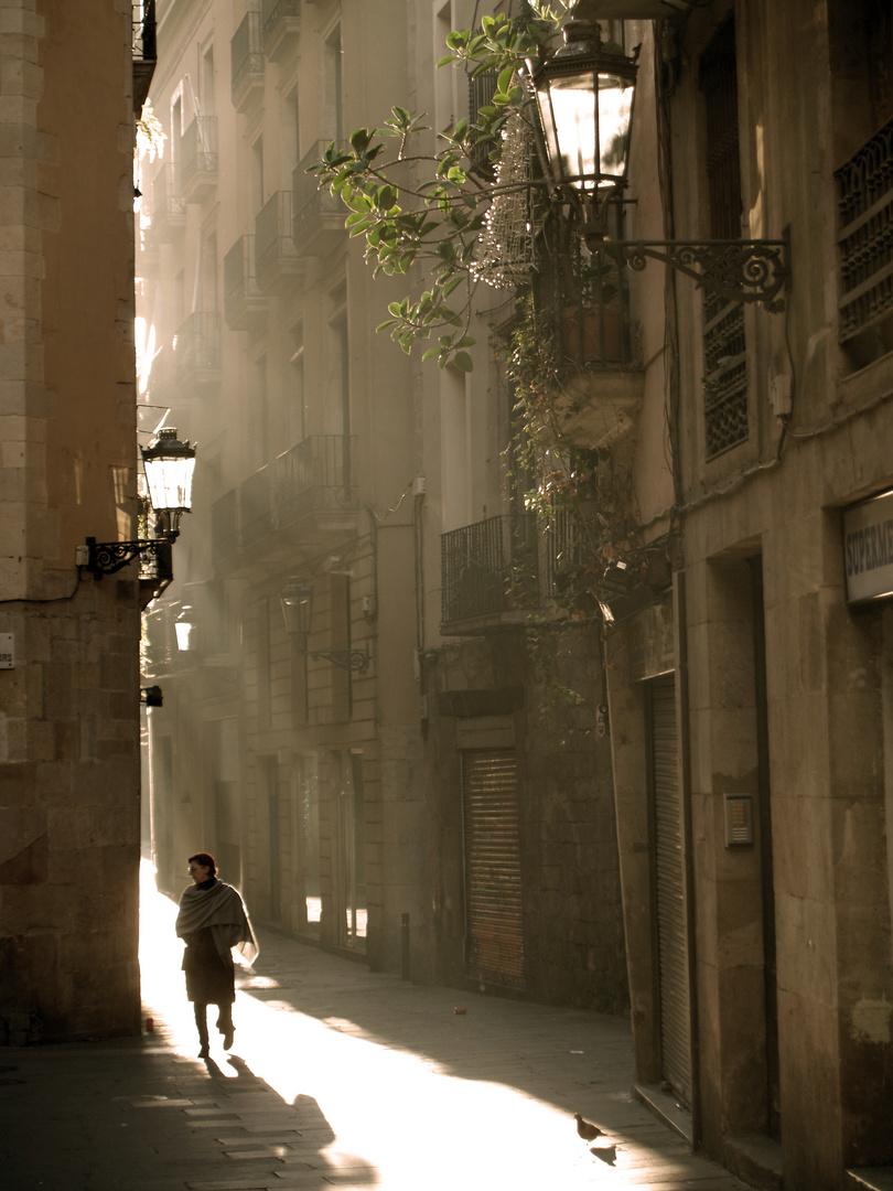 Morgenszene in Barcelona