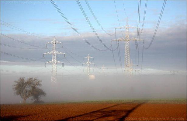 Morgentliche Nebelauflösung mit Strommasten