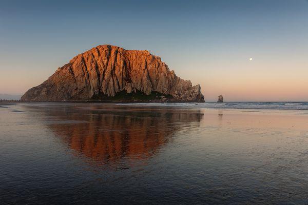 Morro Rock - Sunrise & Moonset