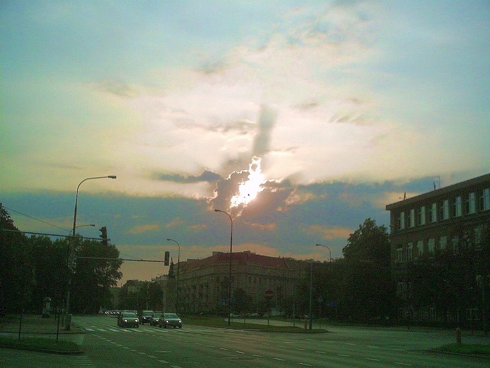 Mother of God revealed in the clouds