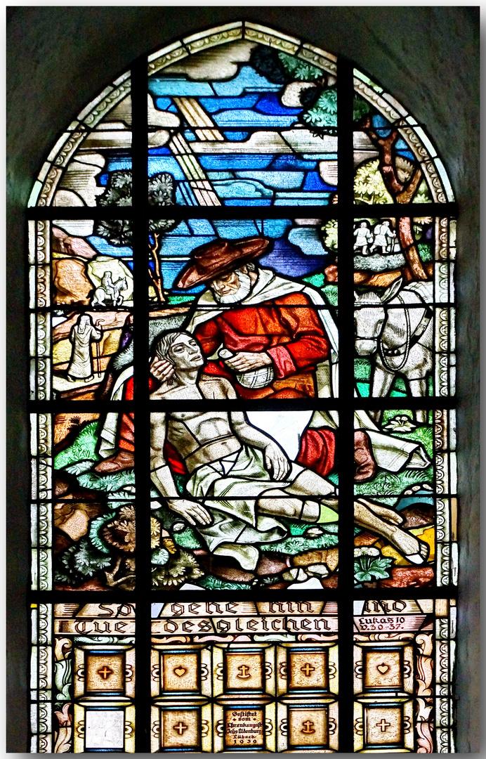"""Motivfenster """"Der barmherzige Samariter"""""""