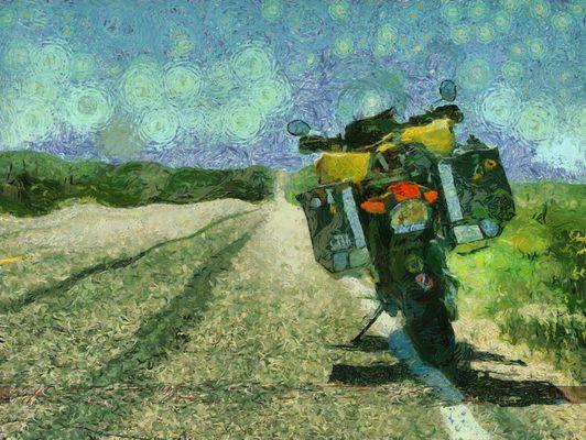 Moto , dans la plaine