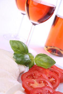 Mozarella, Tomaten, Wein