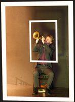 Mr. Pilk, playing trumpet