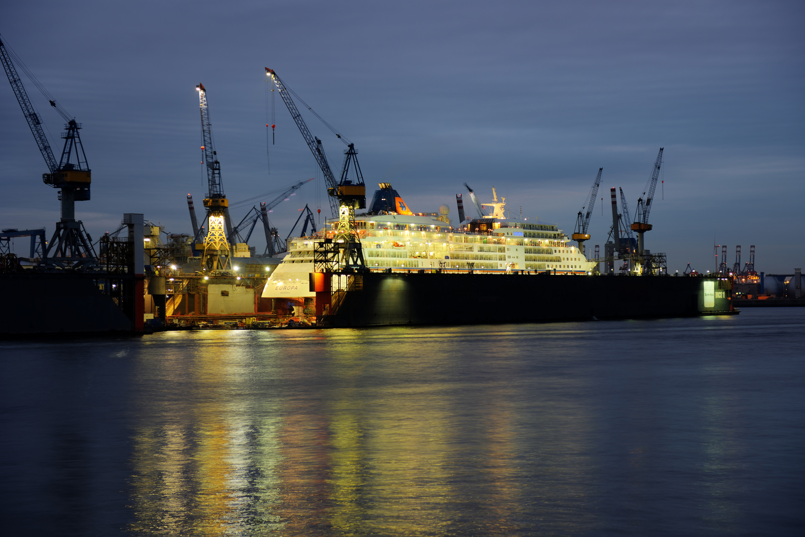 MS Europa in Hamburg during her stay at Blohm+Voss